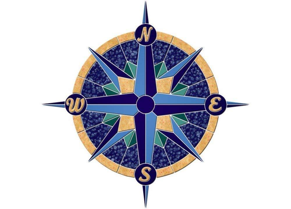 Rose Compass 1 Ceramic Swimming Pool Mosaic (24'' x 24'')