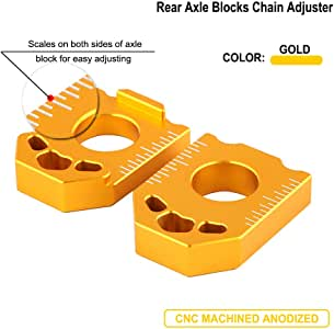 Motorcycle CNC Rear Axle Spindle Chain Adjuster Blocks For/SUZUKI DRZ400SM DRZ 400SM 2004 2005 2006 2007 2008-2019 Gold