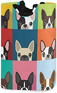 Lmuchen Laundry Hamper Animal Dog Pattern Trellis Storage Basket Portable Dirty Clothes Laundry Bag with Handles Large Washing Bin for Home Bathroom Bedroom