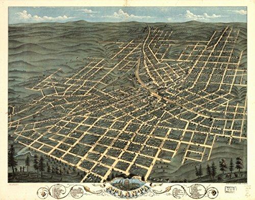 Map: 1871 Birds eye view of the city of Atlanta, the capitol of Georgia 1871. Looking north east|Atlanta|Atlanta Ga|Georgia| (Furniture Ga Atlanta)