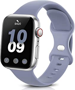 Coinit Sport Band Compatible with Apple Watch Bands 38mm 40mm 42mm 44mm, Soft Silicone Replacement Wristband Compatible with iWatch Series 6 5 4 3 2 1 Women Men Lavender Grey 38mm/40mm S/M
