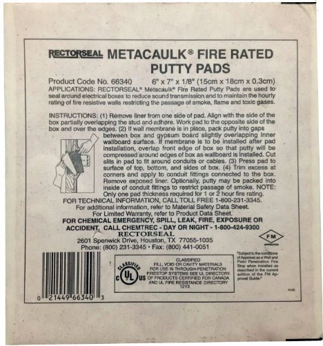 Rectorseal 66335 7-Inch by 7-Inch by 1/8-Inch Metacaulk Fire Rated Putty Pads