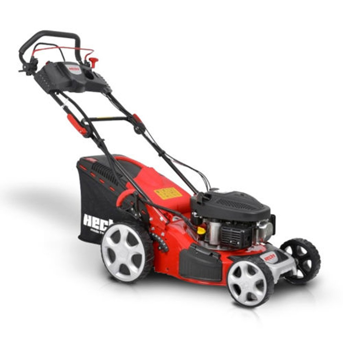 HECHT Benzin-Rasenmäher 543 SWE Benzin-Mäher mit Elektro-Start Funktion (3,5 PS Motorleistung, 43 cm Schnittbreite, 7-fache Schnitthöhenverstellung 25-75 mm, 50 L Fangsack)