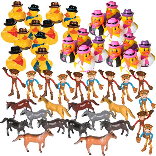 Wild West Cowboy Party Favors - Bulk 48 Pieces - Rubber Ducks - Horses - Bendable Toy Figures - Country Western Party Supplies - Rodeo Banquet - Cowboy or Cowgirl Themed Birthday or Baby Shower Prizes - Kentucky Derby Party Favors - Hoe Down Barn Dance Fundraiser Table Decorations