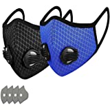 GORTES Cycling Face Bandanas, with2 Breathing valve for Adults, Haze Dust Face Health Protection (2pcs,4filter)