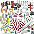 Azyc Miniature Garden Ornaments 109 Pcs Miniature Ornaments Kit Set With 1 Pcs Tweezer For Diy Fairy Garden Dollhouse Decoration
