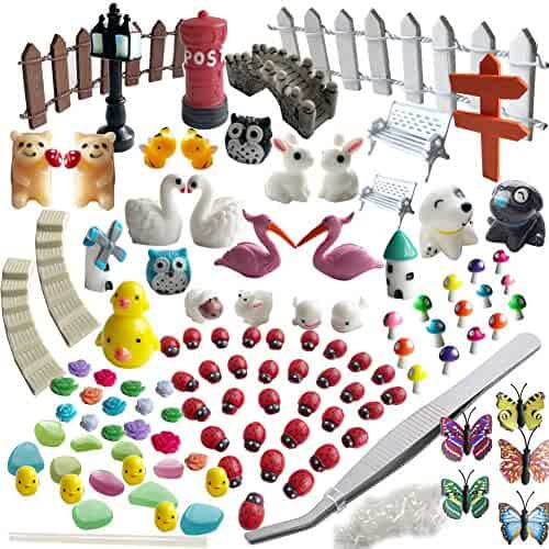 AZYC Miniature Garden Ornaments,109 Pcs Miniature Ornaments Kit Set with 1 Pcs Tweezer for DIY Fairy Garden Dollhouse Decoration