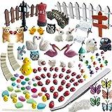 #3: Miniature Garden Ornaments,99 Pcs Miniature Ornaments Kit Set with 1 Pcs Tweezer for DIY Fairy Garden Dollhouse Decoration