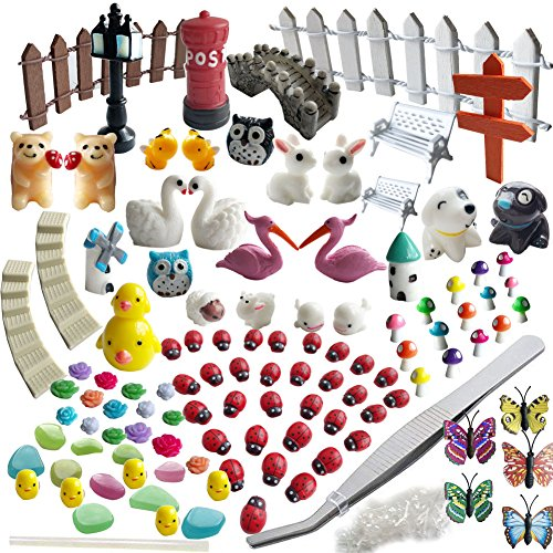 Miniature Garden Ornaments,99 Pcs Miniature Ornaments Kit Set with 1 Pcs Tweezer for DIY Fairy Garden Dollhouse Decoration