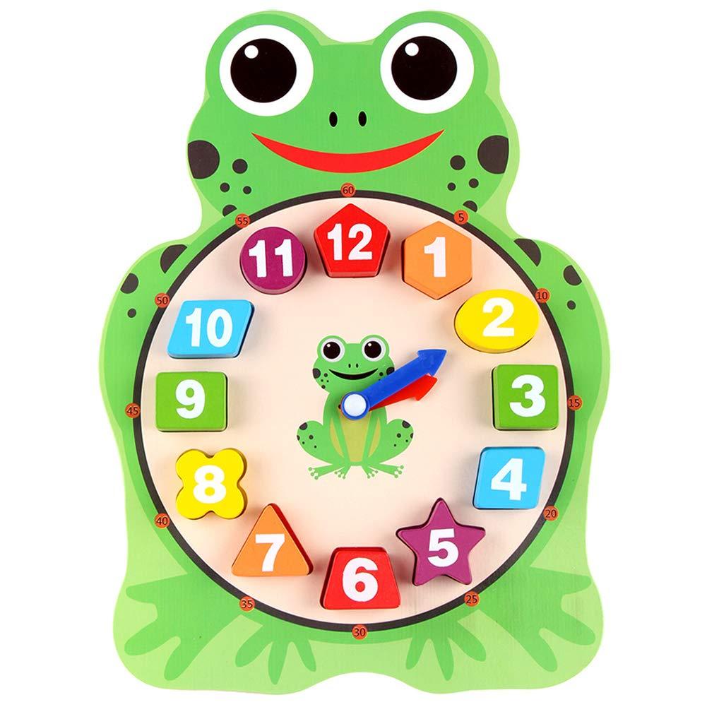 Aoile 木製デジタル時計 木製学習ブロック 早期教育玩具 065107CA85E12CEE  フロッグ(Frog) B07JD6YBT3