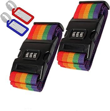 Bandas de Equipaje de Colores 2 Unidades Incluye 2 Colgantes para Maleta. Correa Ajustable para Maleta con Cerradura de combinaci/ón