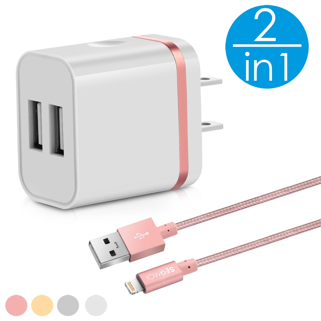 2in1 [ Apple MFi Certified ] 3Ft Lightning Cable/Cord + Dual Port USB Wall Plug Charger Block/Box/Charging Cube/Brick/Power Adapter For iPhone XS Max XR X 8 Plus 7 6s 6 5 5s 5C SE iPad 4 Air Pro Mini (White-Silver Kit) SEGMOI WXHD-WS