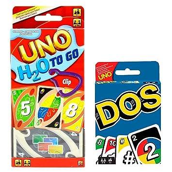 UNO H2O + Dos Juego de Cartas Pack 2 para Regalo Original