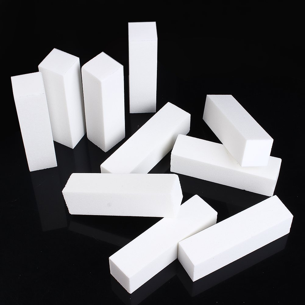 Moonguiding 10x White Acrylic Nail Art Buffer Buffing Sanding Block Files Manicure Tool