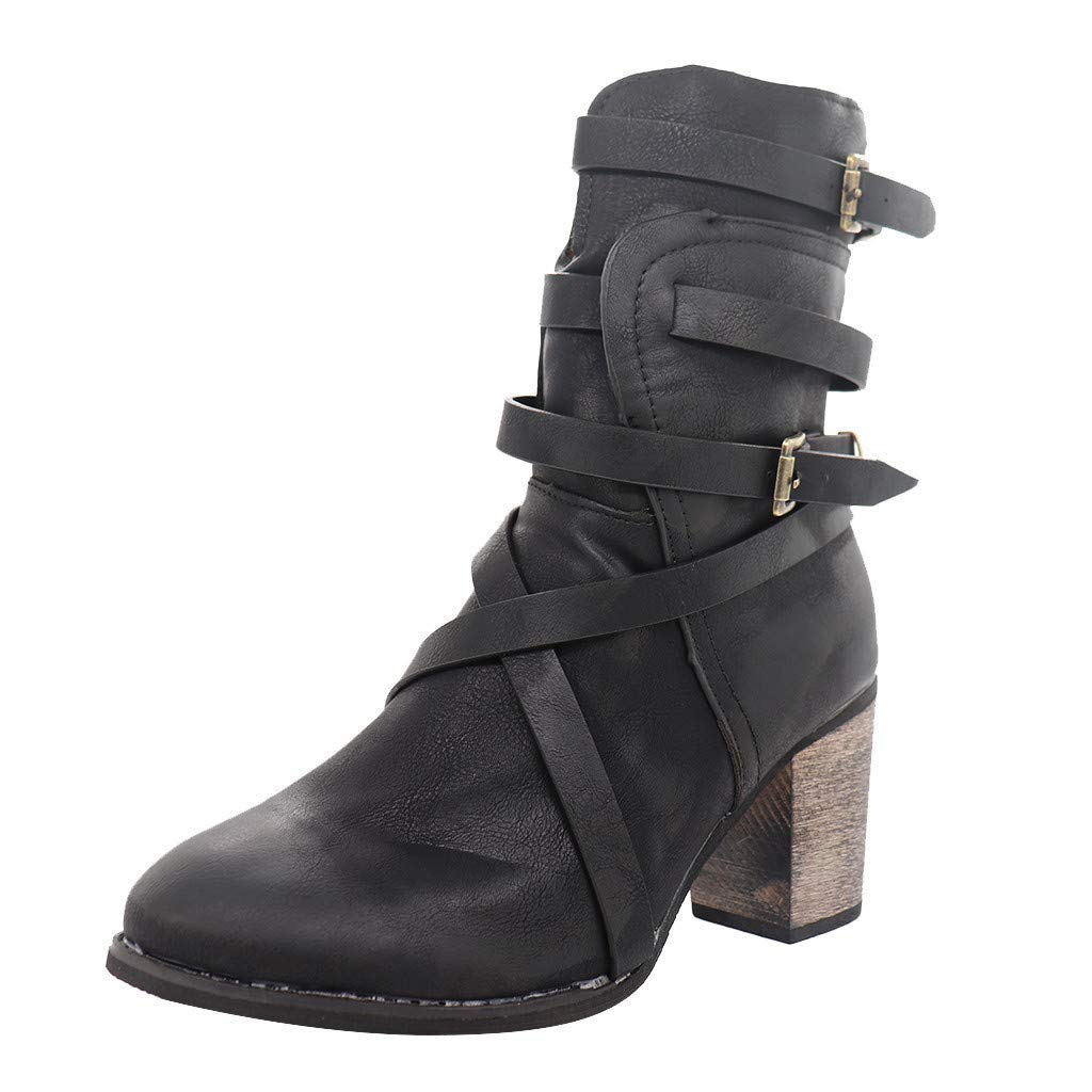 Lataw Women Boots Shoes Ladies Retro Square High Heels Zipper Casual Shoes Rome Boots Buckle Mid Calf Riding Military Winter Footwear by Lataw