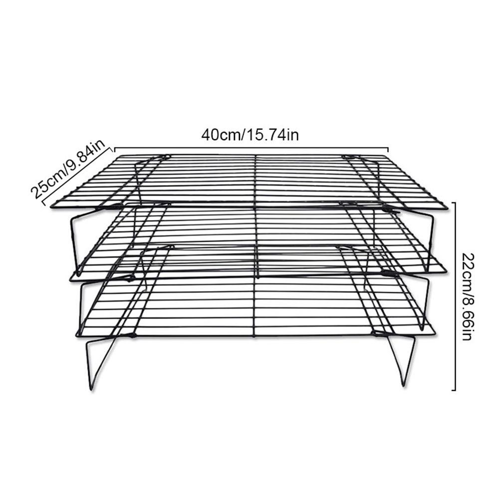 Bakeable Cooling Rack, 3-tier Bakeable Nonstick Cooling Rack Carbon Steel Stackable Wire Cookie Cake Cooling Rack for Bread and Other Baked Food, Stable Legs, Oven Safe, 15.79.8'' by Aolvo (Image #2)