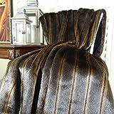 Thomas Collection luxury faux fur throw blanket, faux fur bedding, Luxury Brown Mink Two Tone Faux Fur Throw Blanket & Bedspread, Mink Fur, Made in America, 16424