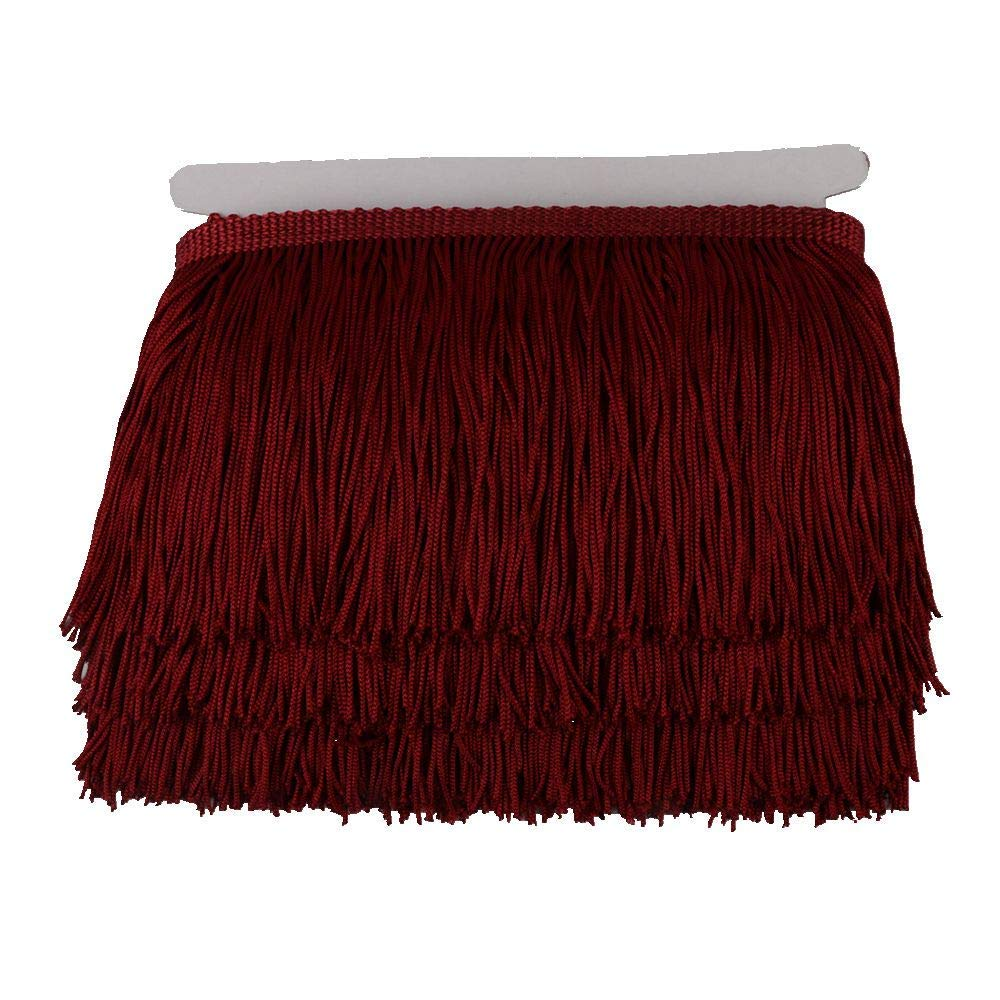 Burgundy KOLIGHT 10yards Width 6inch Polyester Lace Tassel Fringe Trim Decoration for Latin Dress Stage Clothes Lamp Shade