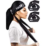 2 PCS Black Satin Edge Laying Scarf Wrap for Hair Wig Wrap Grip Band 58 X 3 Inches for Women Lace Frontal Wigs Makeup…