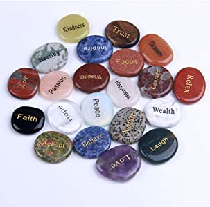 TGS Gems Natural Engraved Inspirational Stones(21 Different Words)