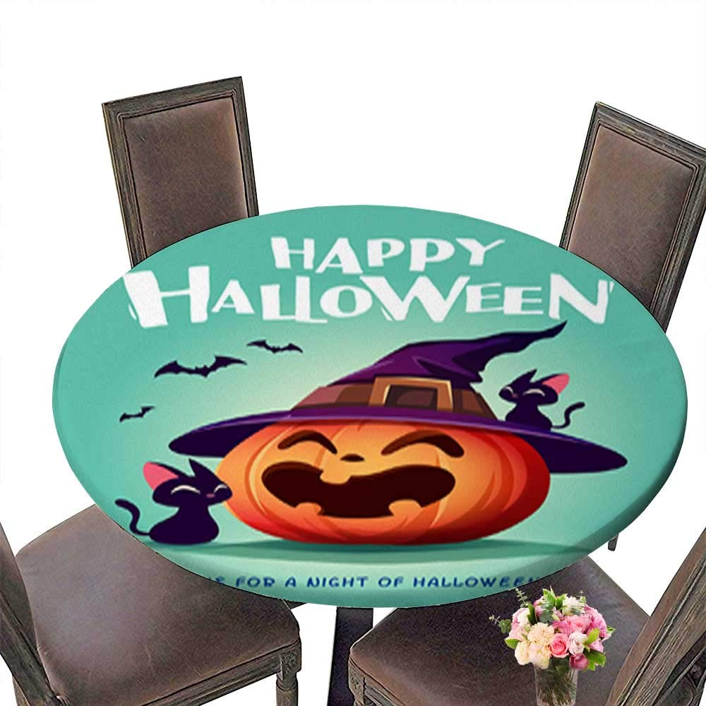 Round Tablecloth Waterproof Polyester Table,Happy Halloween Halloween Pumpkin Black Cat and Jack O Lantern Pumpkin with wi Tablecloth for Wedding/Party up to 31.5''-33.5'' Diameter