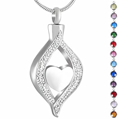 0ebda55d12 memorial jewelry Birthstone Personalized Eye of Heart Crystal Urn Necklace  Cremation Jewelry