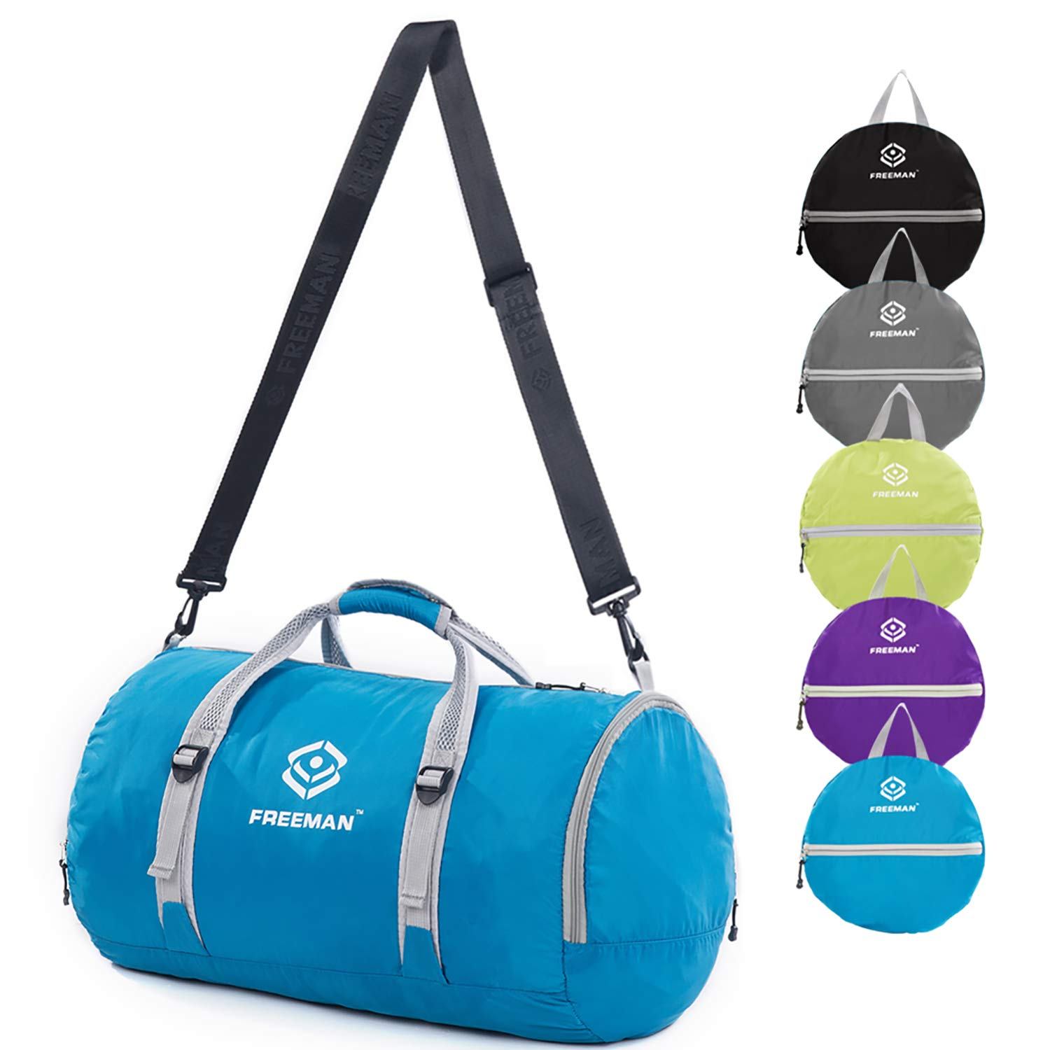 YOULERBU 40L Foldable Travel Duffel Bag, Sports Gym Bag with Shoes Compartment, Lightweight Water Resistant Compact Luggage Duffel for Men and Women