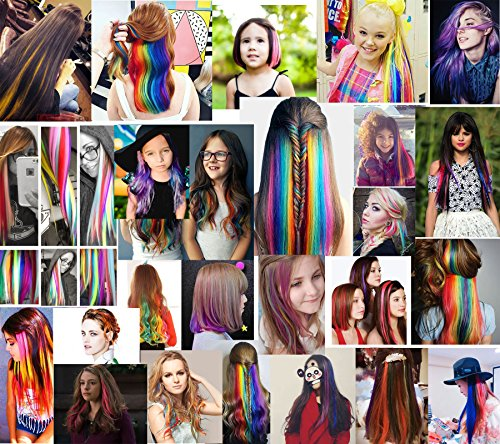 CCW 9PCS Wig Pieces For America Girls and Dolls Clip In/On Colored Hair Extensions(Rainbow Color) by Rhyme (Image #7)