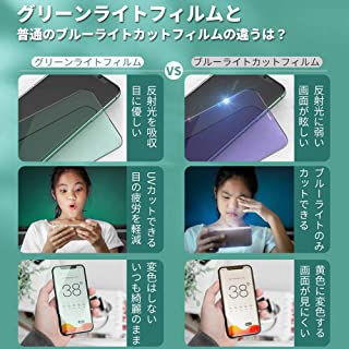 MOOGOO iPhone11 Pro/iPhoneX/Xs 5.8インチ グリーン ガラスフィルム 目の疲れを減軽 視力保護 日本製旭硝子素材 高感度タッチ/自動吸着/全面保護 強化ガラス 透過率99.9% 気泡ゼロ