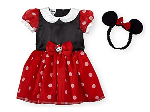 4253dabfd Amazon.com: Disney Junior Toddler Girls Deluxe Red Minnie Mouse Dress  Costume w Ears: Clothing