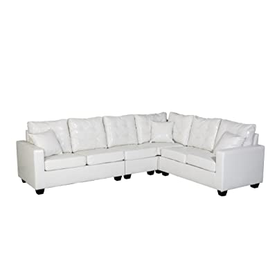 """Oliver Smith - Large White Leather Modern Contemporary Upholstered Quality Sectional Left or Right Adjustable Sectional 103"""" x 81"""" x 35"""" s287white"""