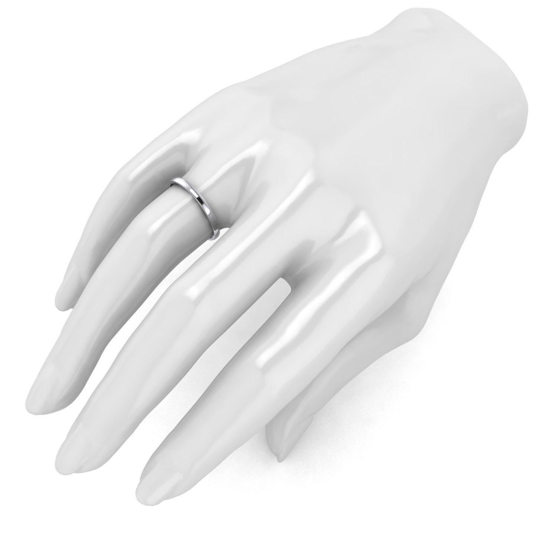 Unisex 14k White Gold 2mm Light Court Shape Comfort Fit Polished Wedding Ring Plain Band (5.5) by LANDA JEWEL (Image #4)