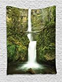 Ambesonne Hobbits Tapestry Wall Hanging, Falls of Rivendell Multnomah Waterfall Oregon with Hobbit Elf Path Bridge Scene Image, Bedroom Living Room Dorm Decor, 60 W x 80 L Inches, Green