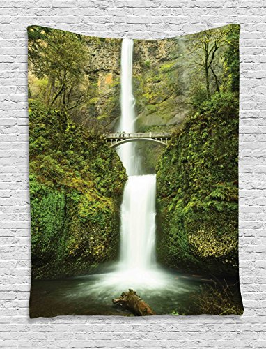 Hobbits Tapestry Wall Hanging by Ambesonne, Falls of Rivendell Multnomah Waterfall Oregon with Hobbit Elf Path Bridge Scene Image, Bedroom Living Room Dorm Decor, 60 W x 80 L Inches, Green