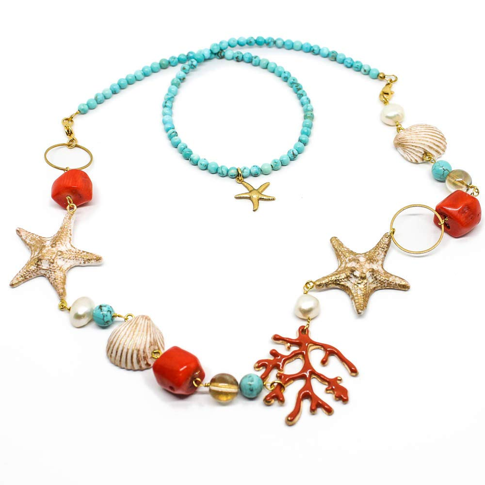Collana 2 in 1 con ciondolo corallo smaltato stelle marine conchiglie e turchese