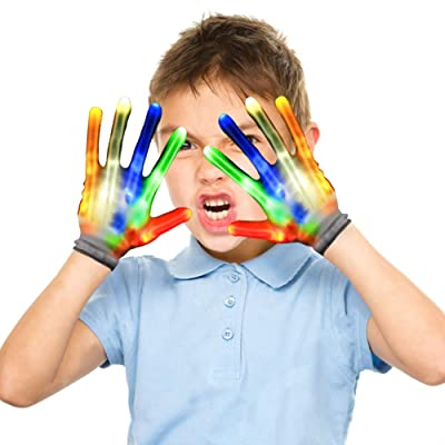 LED Gloves for Kids, Cool Fun Toys for 4 5 6 7 8 9 10 Year Old Boys Girls, Awesome for Boys Age 4 5 6 7 8 9 10. Birthday Costumes Party Supplies for Boys Girls.: Toys & Games