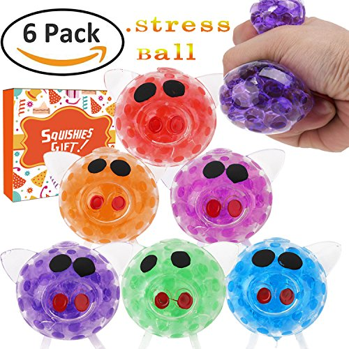 Ereon 6 Pack Squishy Ball - Squeeze Grape Ball Novelty Creative Crystal Balls Anti-Stress Relief Pressure Ball Fidget Toys Rubber Ball Non-Toxic Rubber Sensory Balls for Women Men Kids Sports (Crystal Bead Ball)
