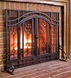 Plow & Hearth Floral Large Fireplace Screen with Doors, Tempered Glass, Metal Mesh, Tubular Steel Frame, Black Powder Coat Finish, Decorative Design, Free Standing Spark Guard, 44 W x 33 H
