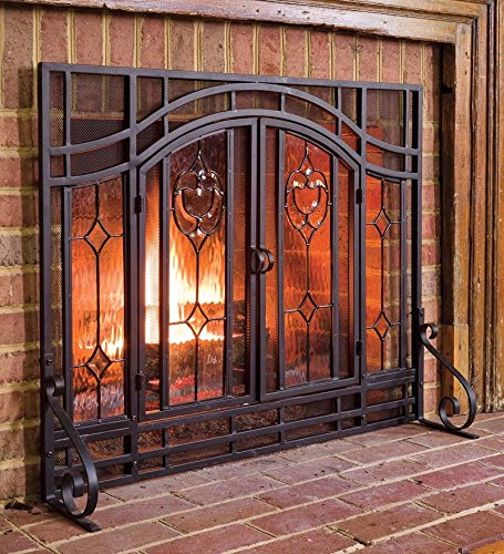 plow hearth floral large fireplace screen with doors tempered glass