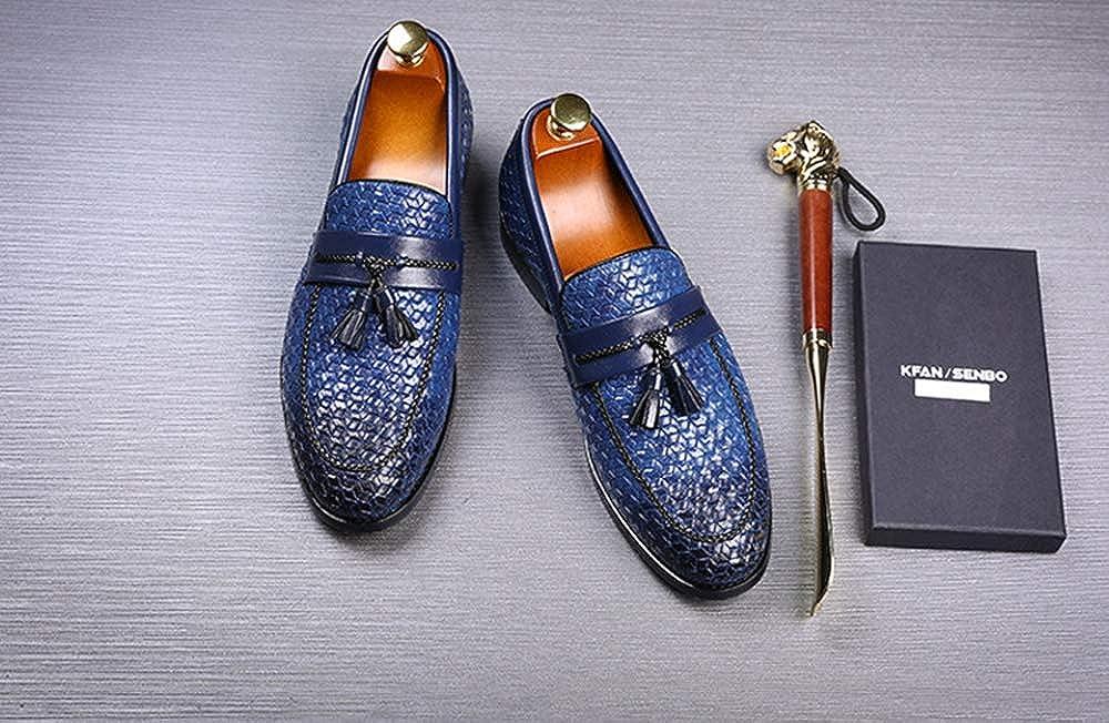 MST Men's Loafers Fashion Weave Tassel Slip Casual Dress Slip Tassel On Luxury Flats 11 M US|Navy B07GKRLR4X ca7c8d