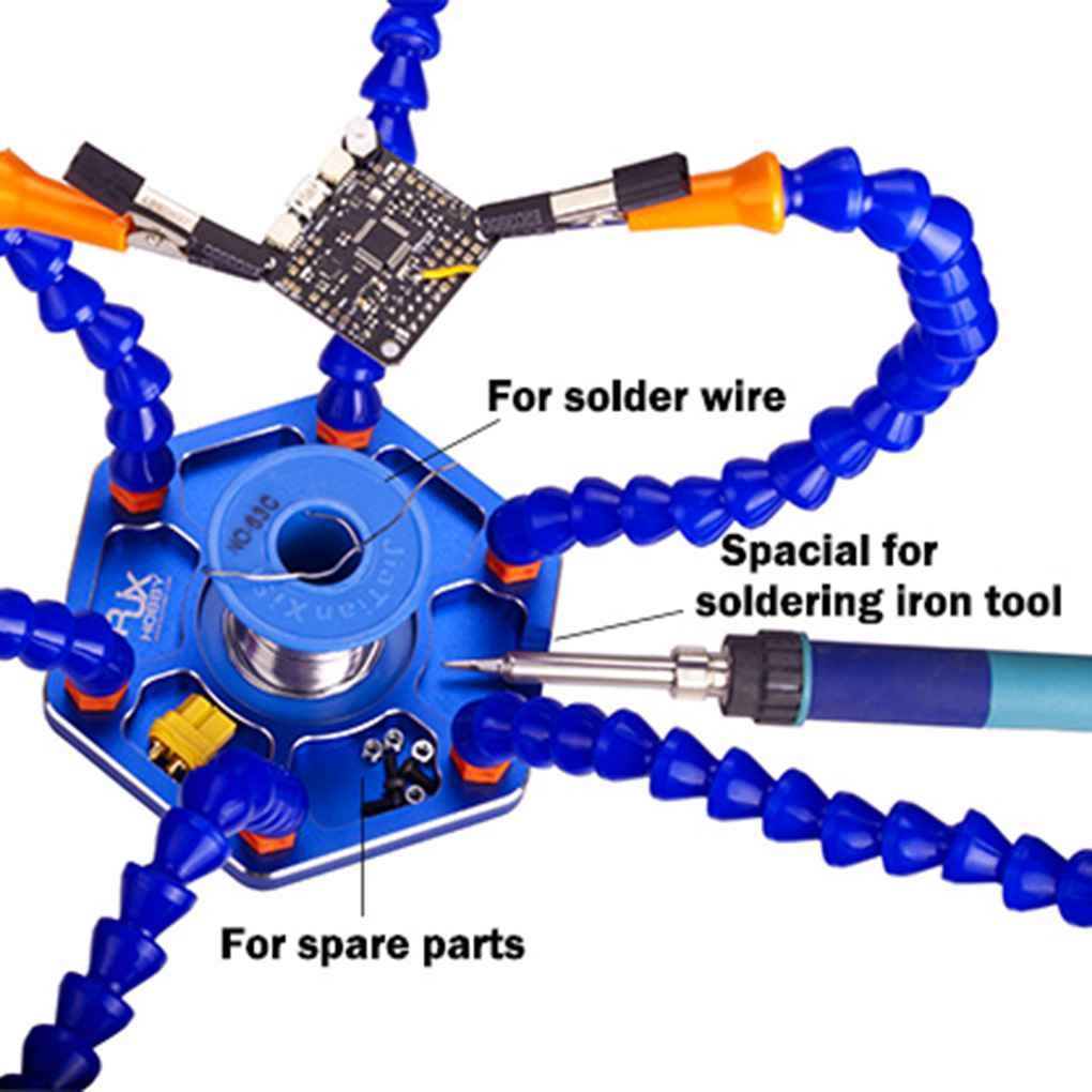 Aotejia RJX Ayudantes de manos tercera mano Pana mano base de aluminio Estación de soldadura herramienta: Amazon.es: Electrónica