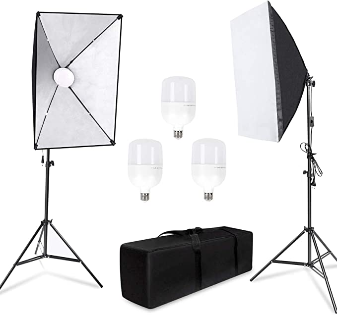LOMTAP Softbox Photography Lighting Kit 50X70 Professional Continuous Light Soft Boxes System with Boom Arm Stand 5 in 1 Reflector and Bulbs for Portrait Photo Studio YouTube Shooting