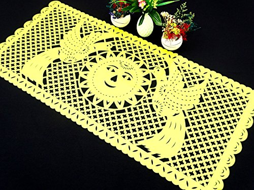 5 Mexican Table runners, wedding decorations, Fiesta party decor, Mexican paper table runner, papel picado yellow by MexFabricSupplies