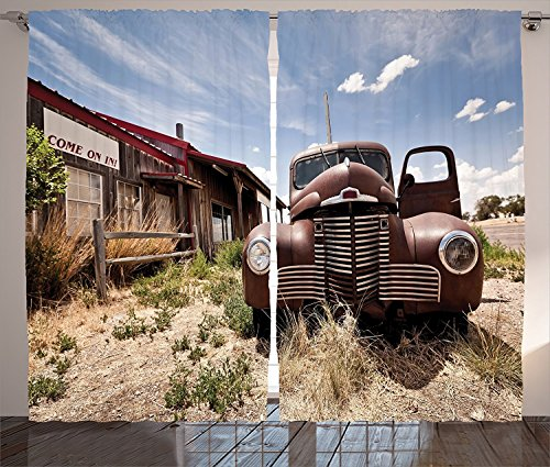 Americana Decor Collection Abandoned Restaurant on Route 66 with Come on in Sign Desert Road Rusty Old Car Picture Living Room Bedroom Curtain 2 Panels Set Brown Blue