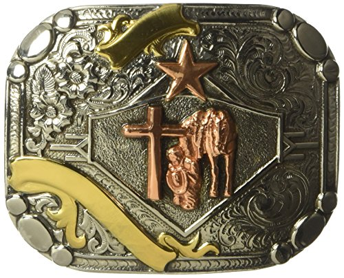 Nocona Men's Crumrine Rounded Square Prayer Buckle, multi/color, One (Rounded Square Buckle Belt)