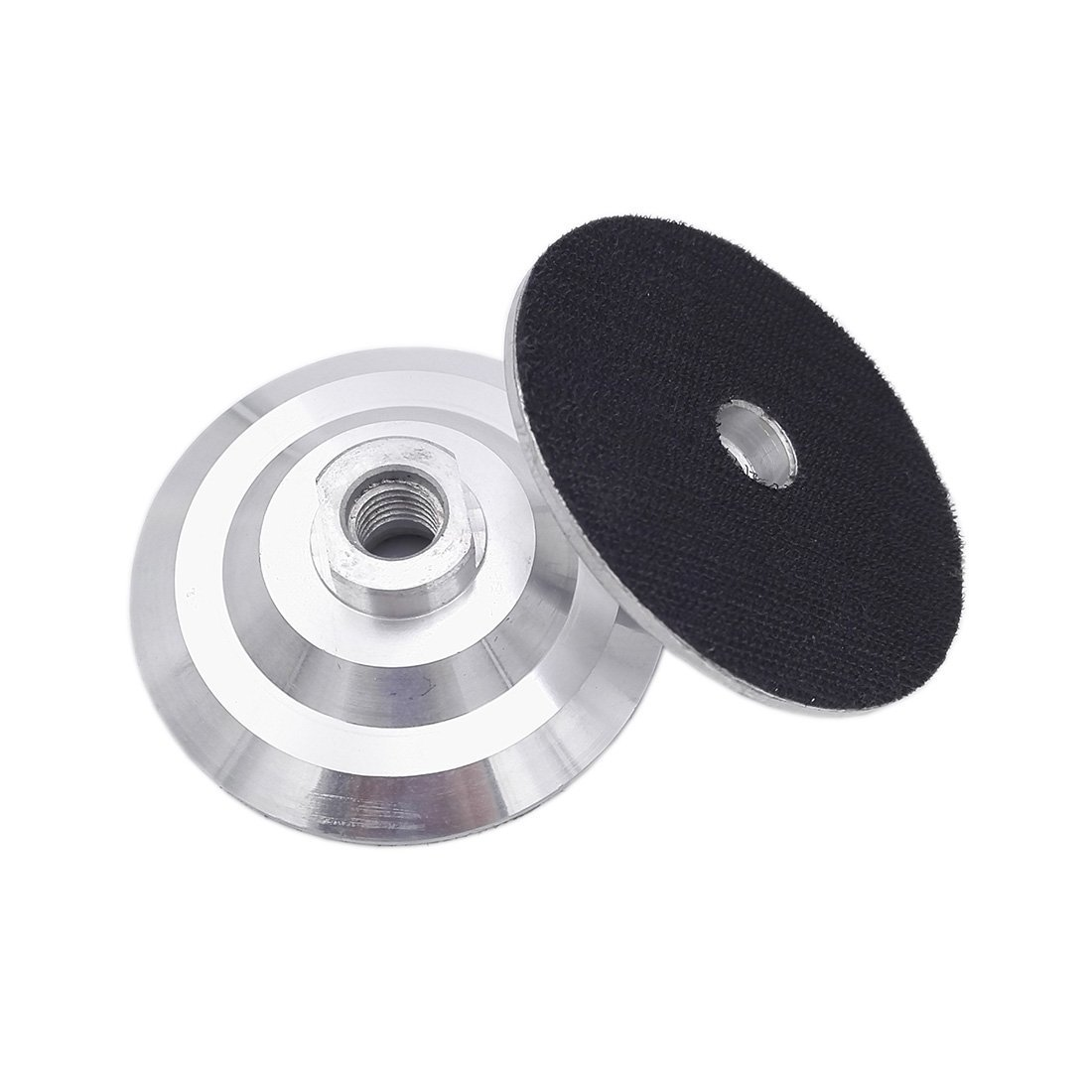 DIATOOL 2pcs 4 INCH Aluminum based backer Back pad for diamond polishing pads 5/8-11 Thread Velcro backing pad with flexible Nylon Buckle backup pad Hook&Loop Backing Pad Hard Backing Pad