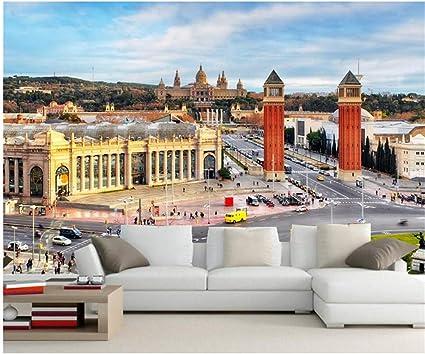 Lovemq 3D Hd Papel De Parede, España Casas Carreteras Fondos De Pantalla De Las Calles De La Ciudad De Barcelona, Sala De Estar Sofá Tv Pared Dormitorio Papel Tapiz De Murales 3D-350X230Cm: