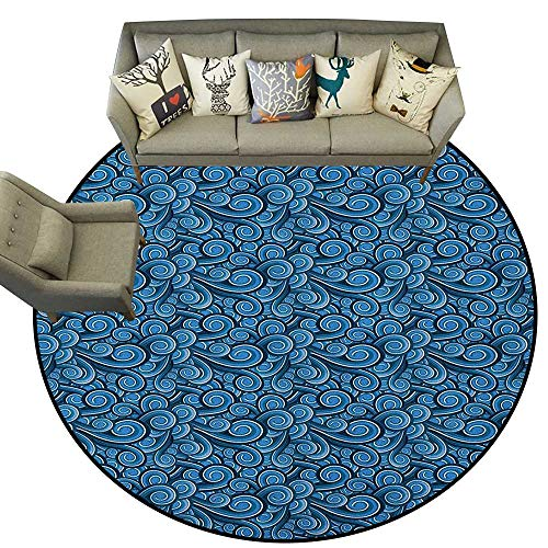 Nautical,Carpet Flooring Waves Pattern with Swirled Lines Marine Inspirations in Abstract Illustration D60 Soft Area Rug for Children ()