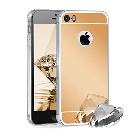 Zhinkarts Handyhülle kompatibel mit Apple iPhone 5 / 5s / SE Gold - TPU Silikon Case Backcover Schutzhülle in Gold Spiegel/sp