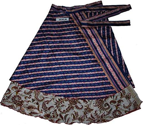 WEVEZ Printed Reversible Two Layer Wrap Around Plus Size Skirts (36XLK)
